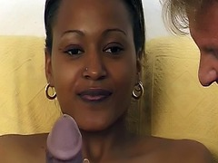 Busty African whore is dildo fucked by German white boy